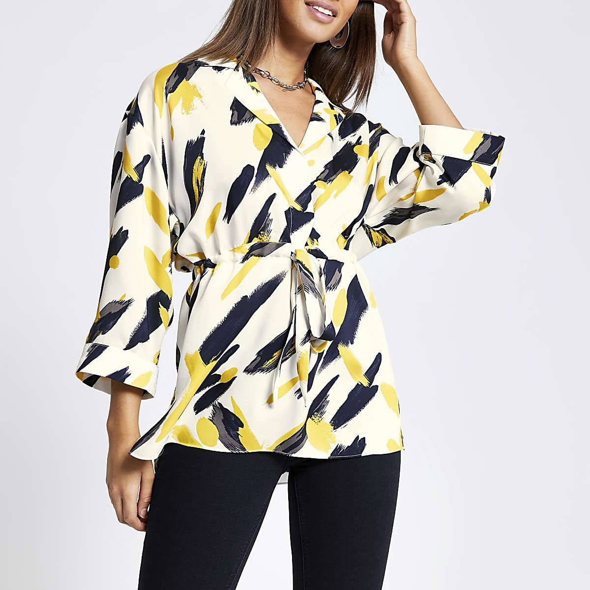 Yellow print tie waist shirt