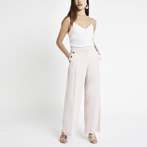Petite pink wide leg pants