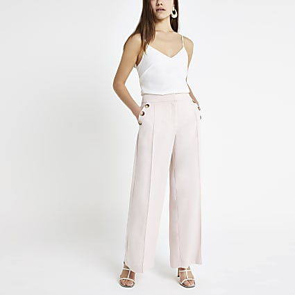 Petite pink wide leg trousers
