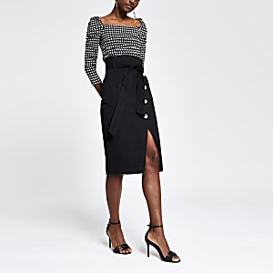 Black tie waist pencil skirt