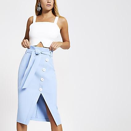 Blue button front tie waist pencil skirt