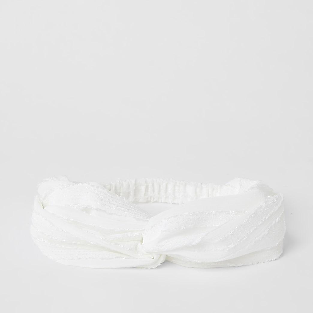 White textured twist headband