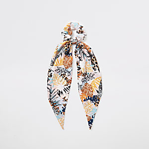 Pink tropical print scarf scrunchie