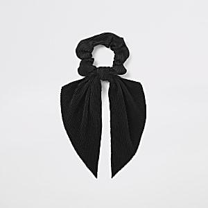 Zwarte plissé scrunchie
