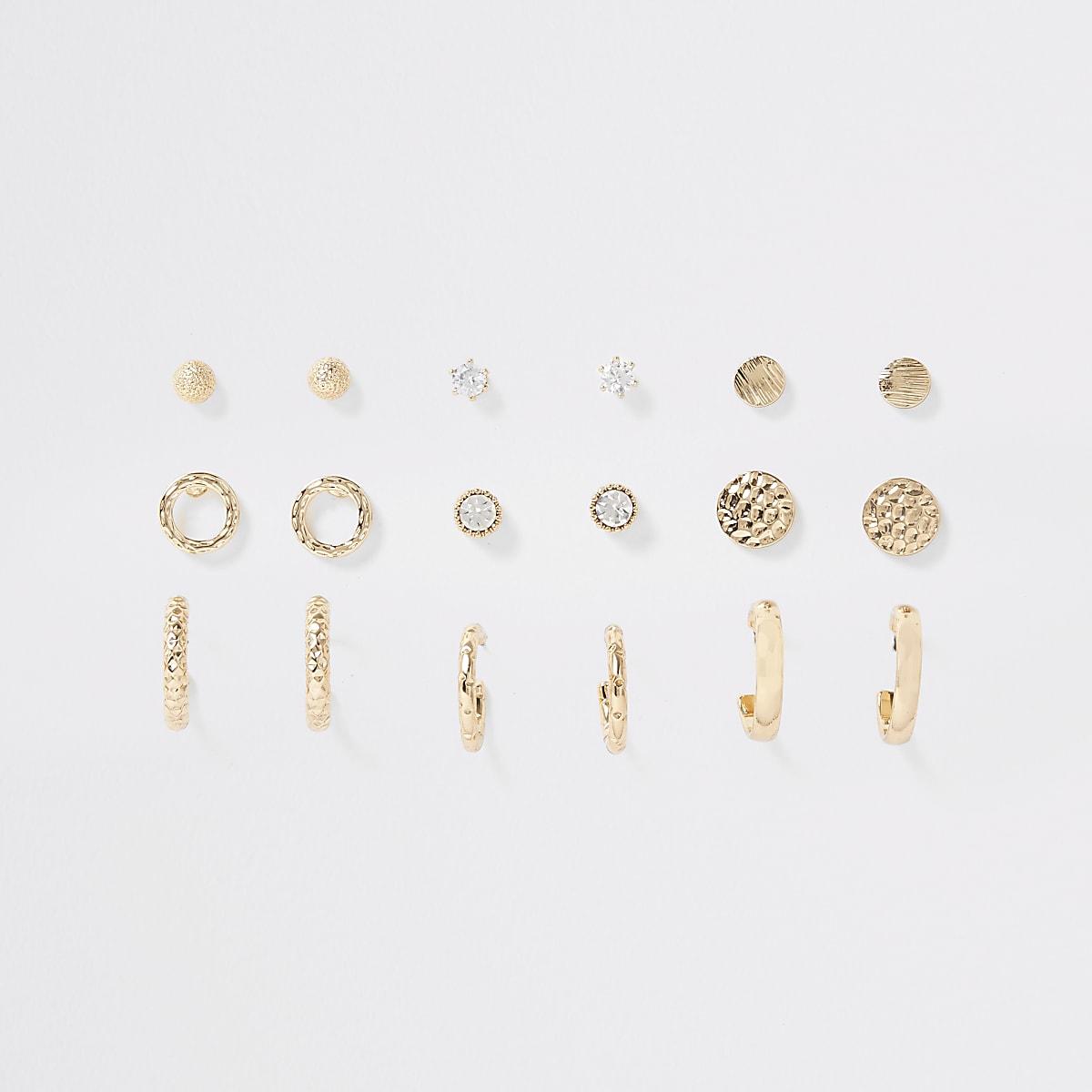 Multipack goudkleurige oorknopjes en oorringen met diamantjes