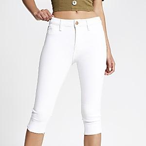 White Amelie three quarter length jeans
