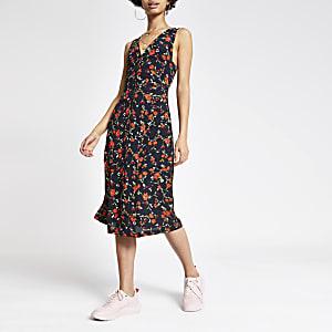 Zwarte midi-jurk met bloemenprint