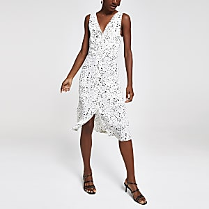 White print button front midi dress