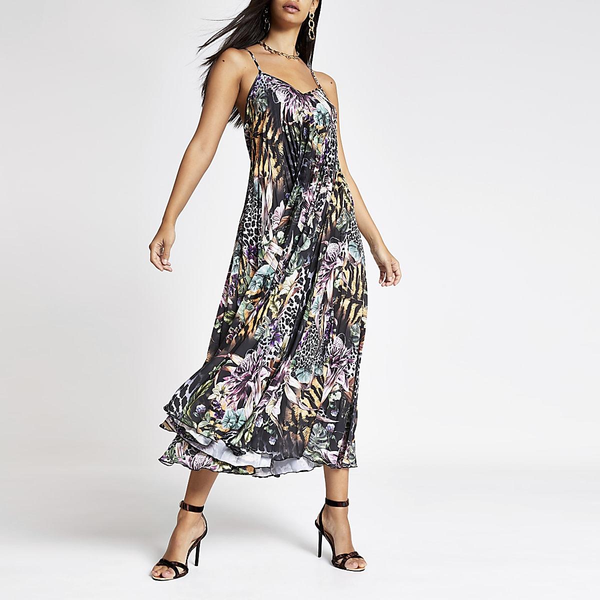 Zwarte satijnen geplooide maxi-jurk met print