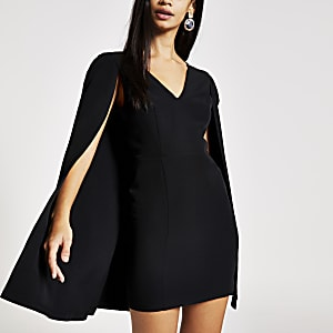 Black cape bodycon mini dress
