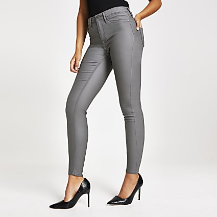 Grey coated Molly mid rise jegging