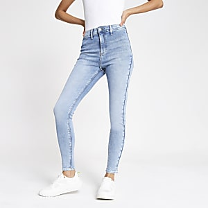 Kaia - Lichtblauwe discojeans met hoge taille