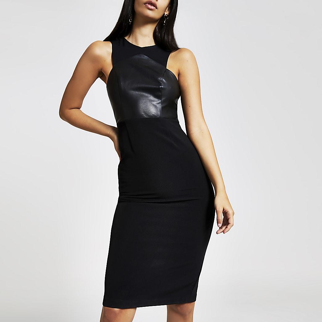 Schwarzes, hochgeschlossenes Bodycon-Kleid