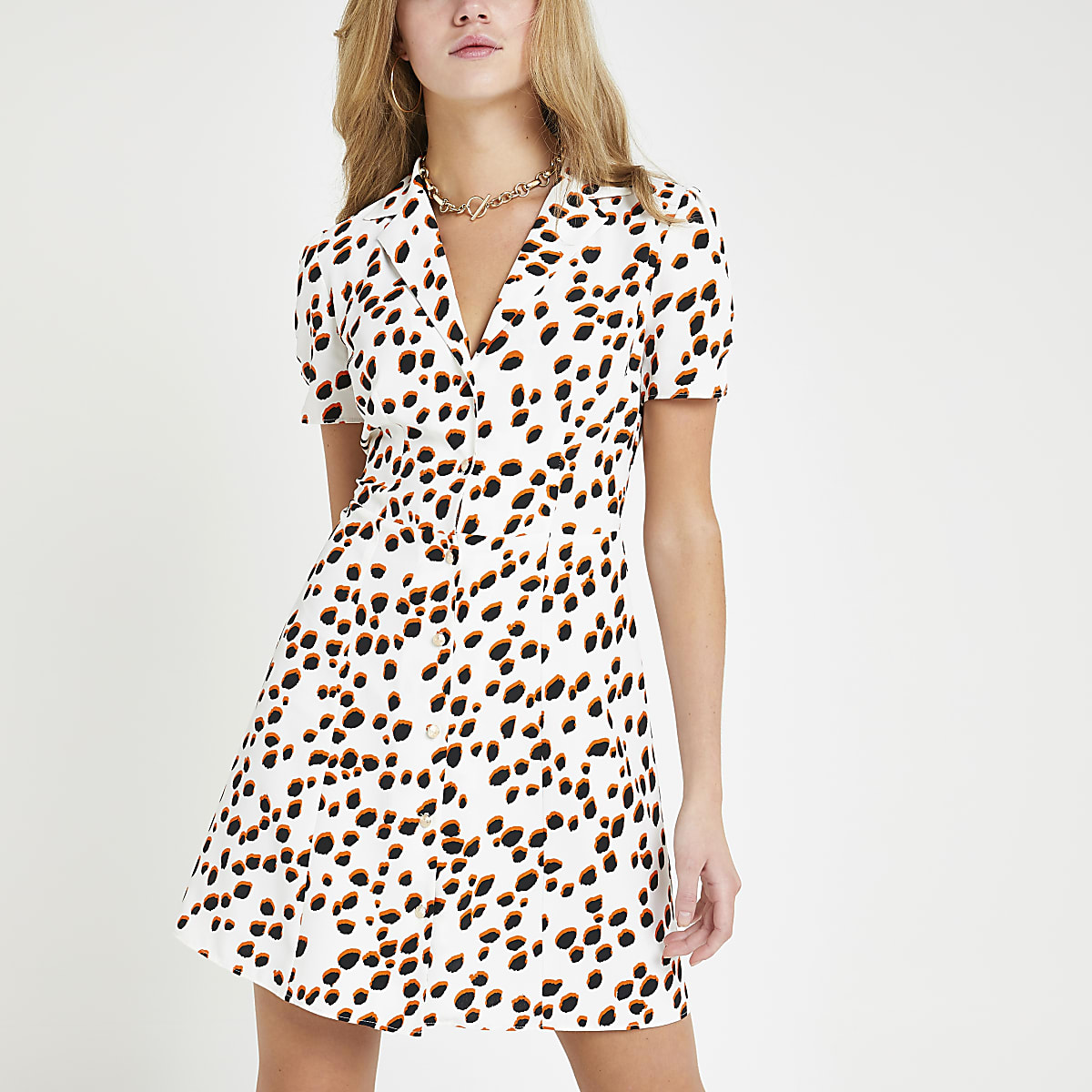 White spot tea dress