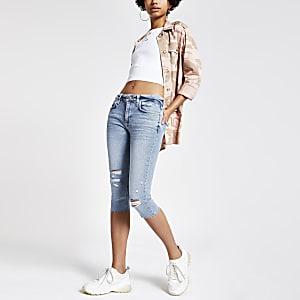 Amelie – Hellblaue, gekürzte Super Skinny Jeans