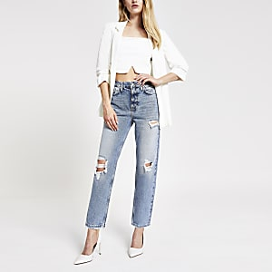 Mittelblaue Straight Jeans im Used-Look