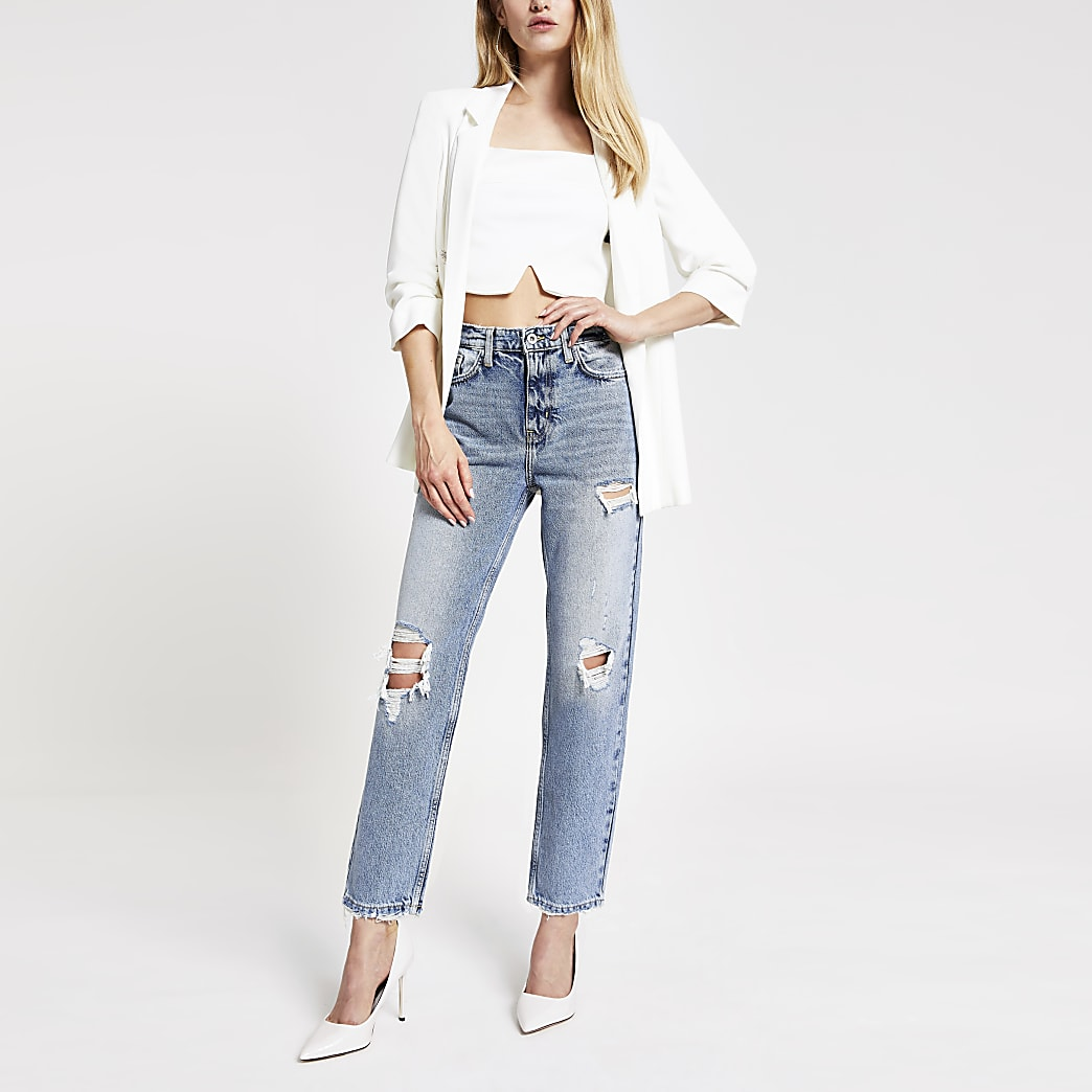 Mid blue straight ripped jeans
