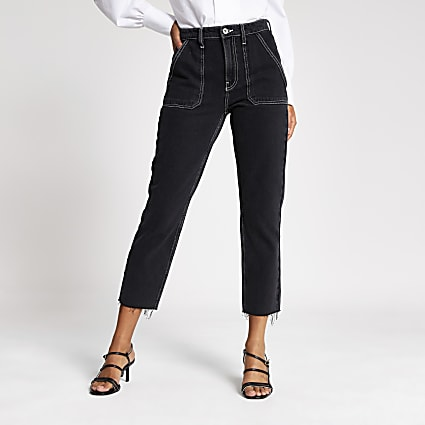 Black contrast stitch straight leg jeans
