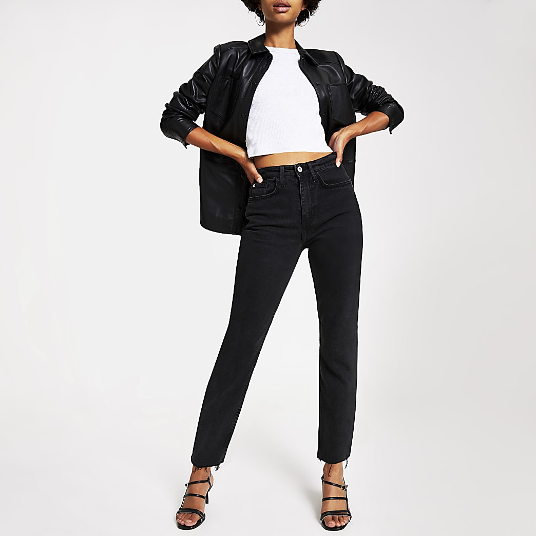 Black wash straight leg denim jeans