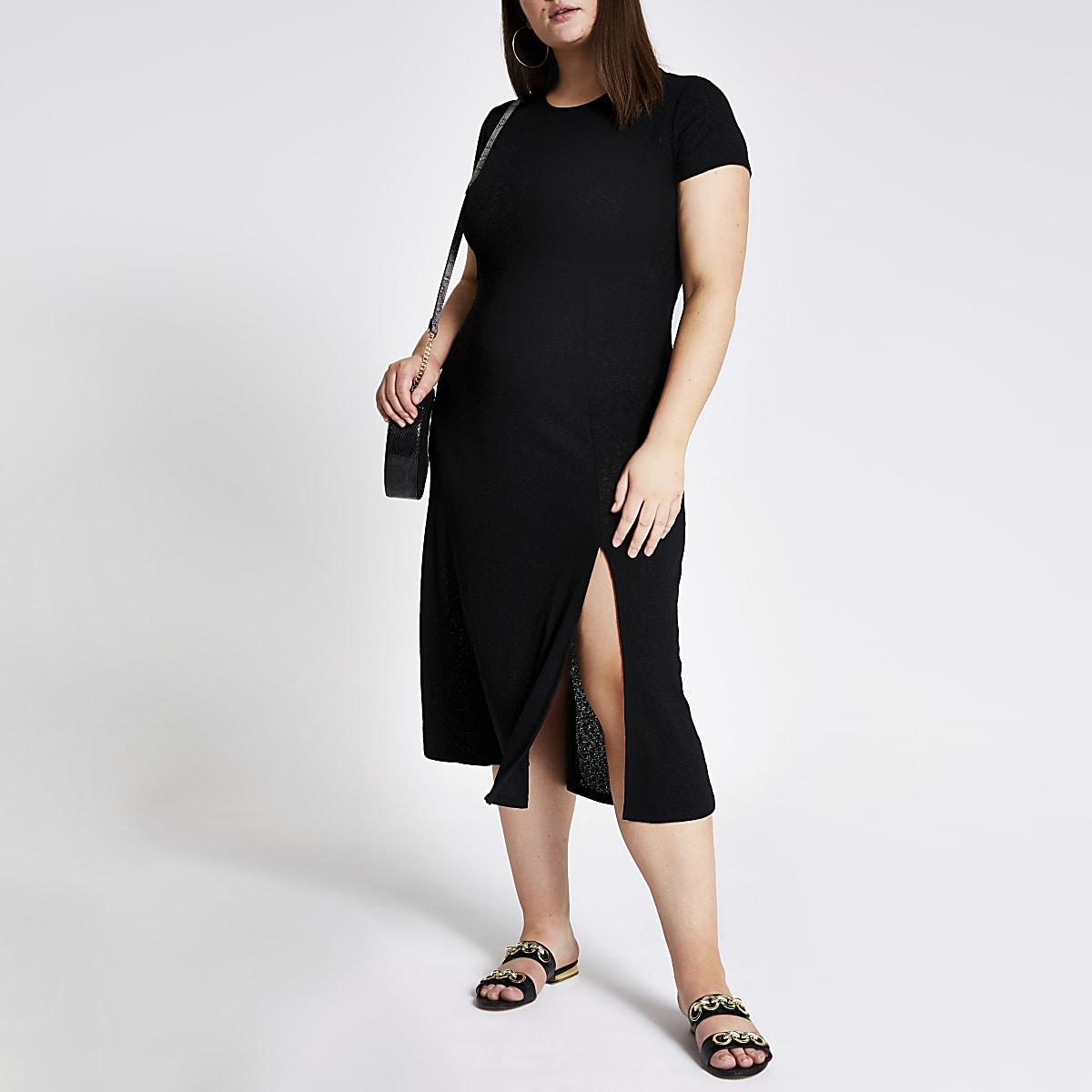 dff30f4f675 Plus black maxi T-shirt dress - T-Shirt Dresses - Dresses - women