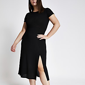 Plus – Schwarzes Maxi-T-Shirt-Kleid