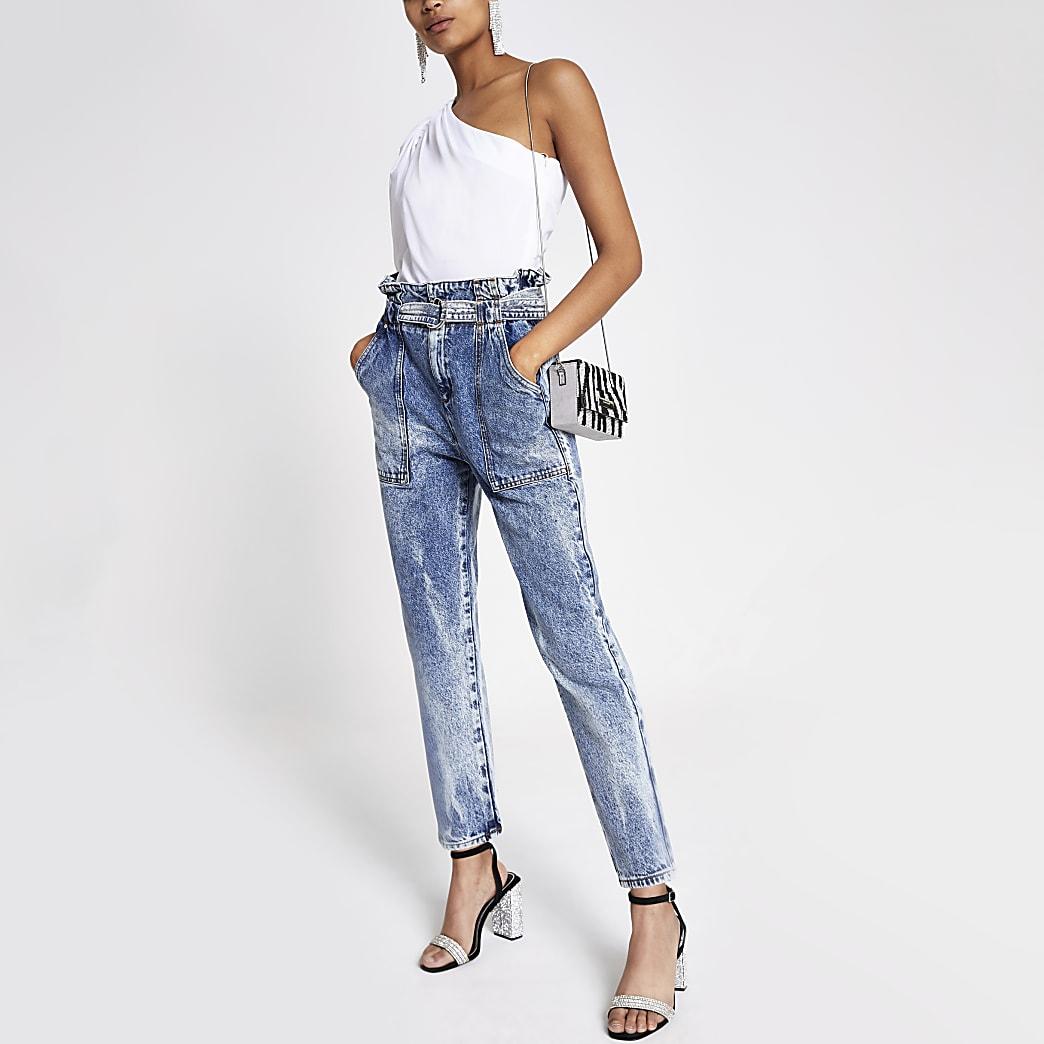 Middenblauwe acid wash jeans met geplooide taille