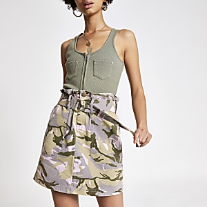 Beige camo belted denim skirt