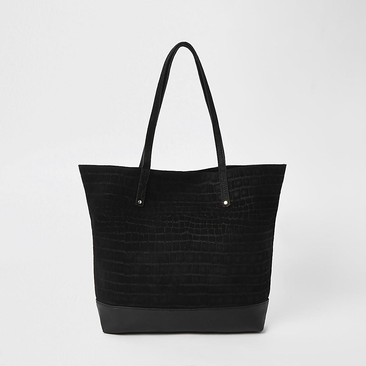 Black leather tote shopper bag