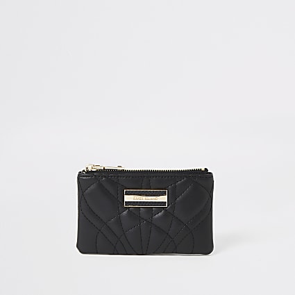 Black quilted mini pouch purse