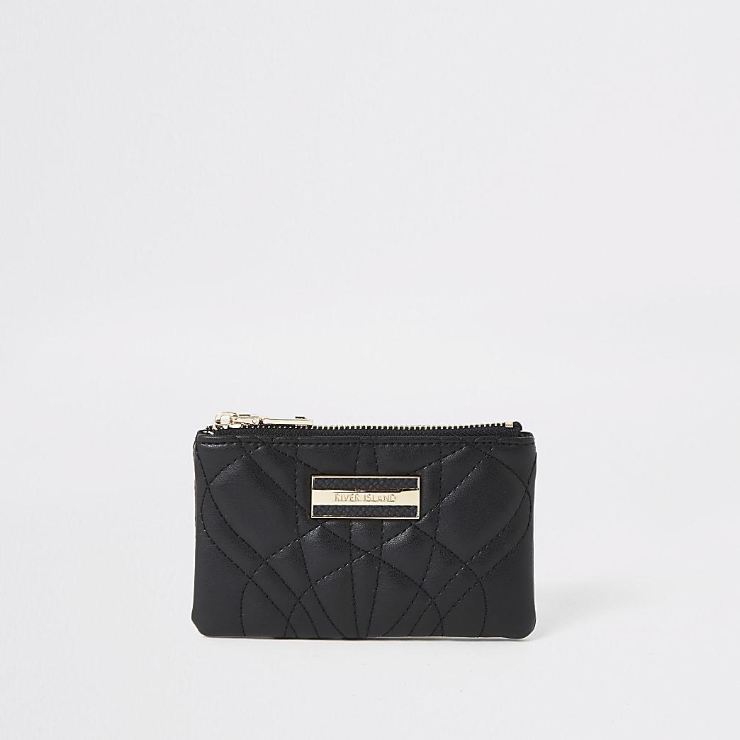Zwarte kleine doorgestikte portemonnee