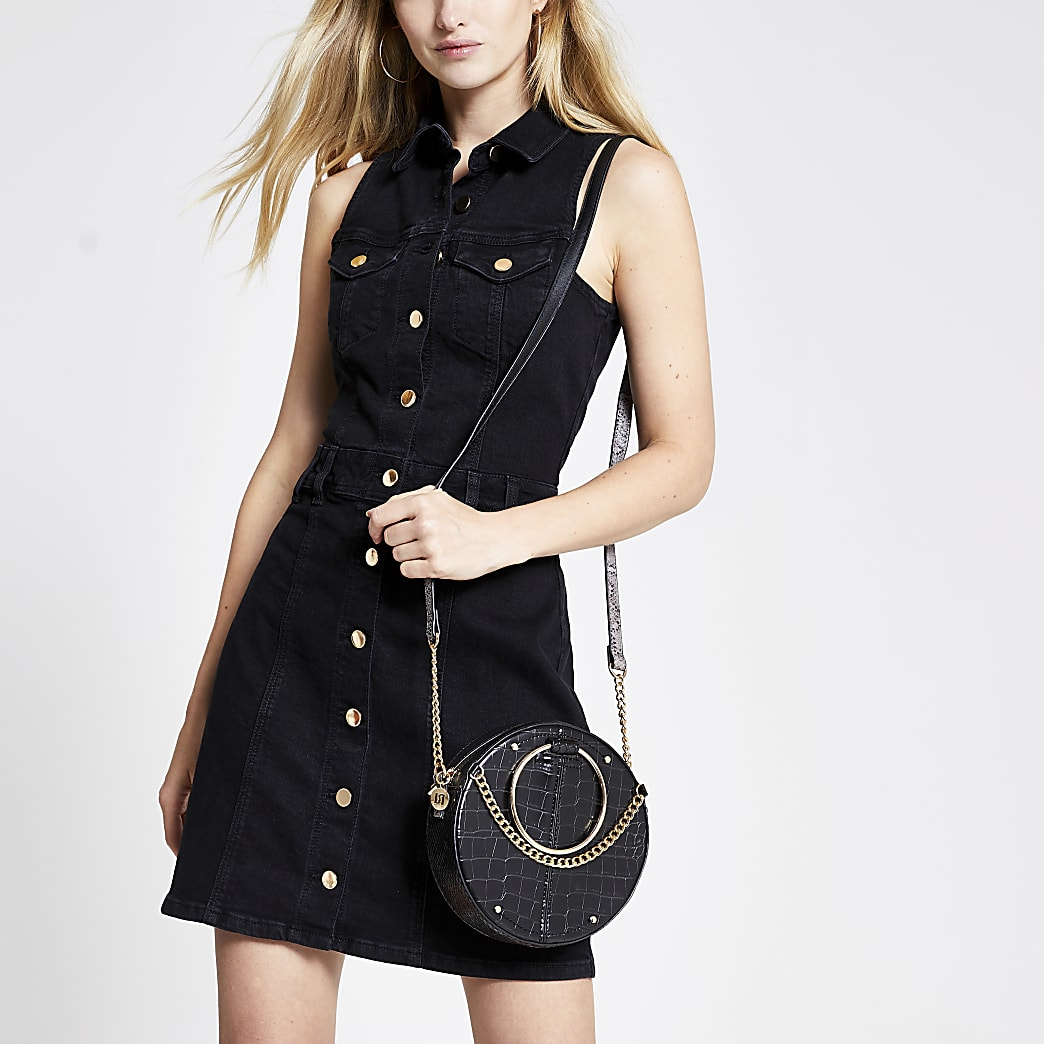 Schwarzes Blusenkleid
