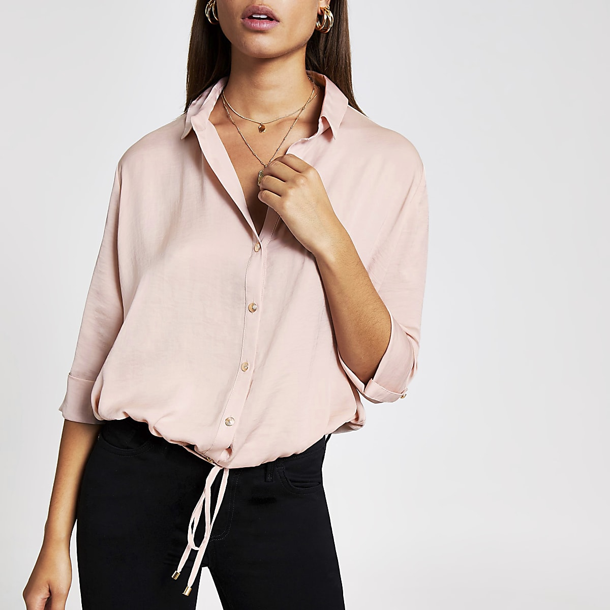 Light pink drawstring shirt