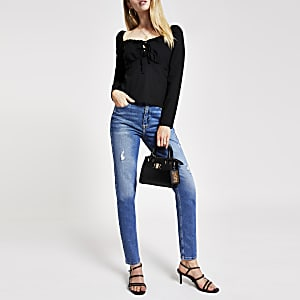 Black tie puff sleeve top