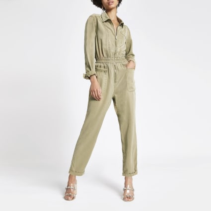 Light beige utility boiler jumpsuit