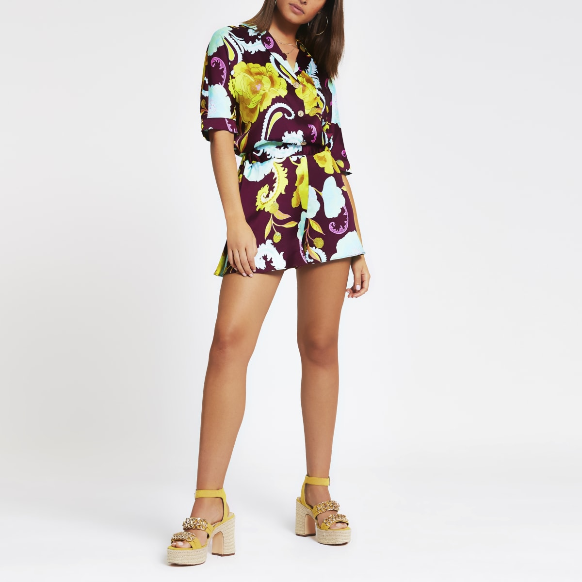Caroline Flack purple floral print shorts