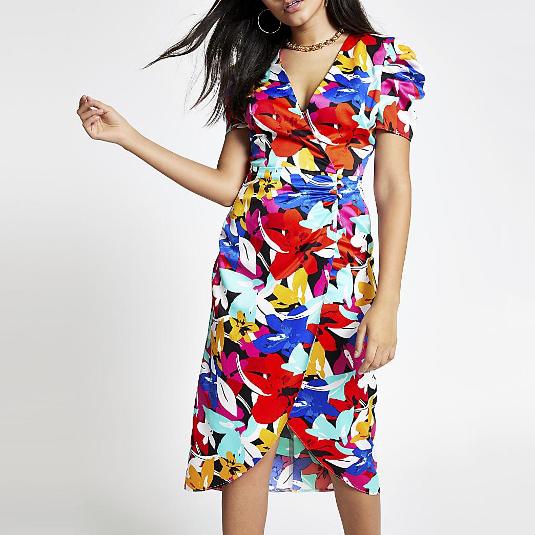 Zwarte midi-jurk met overslag en bloemenprint