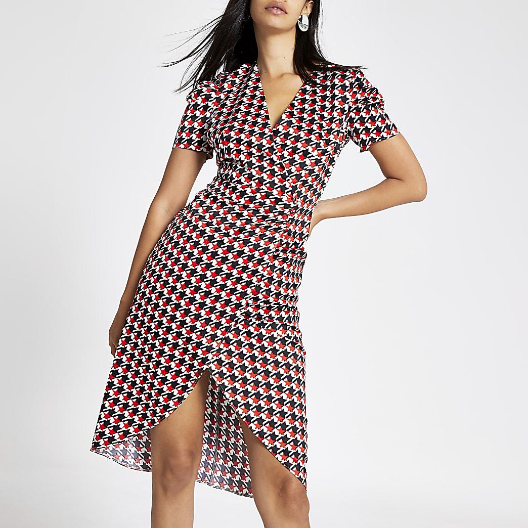 Red star print wrap front midi dress
