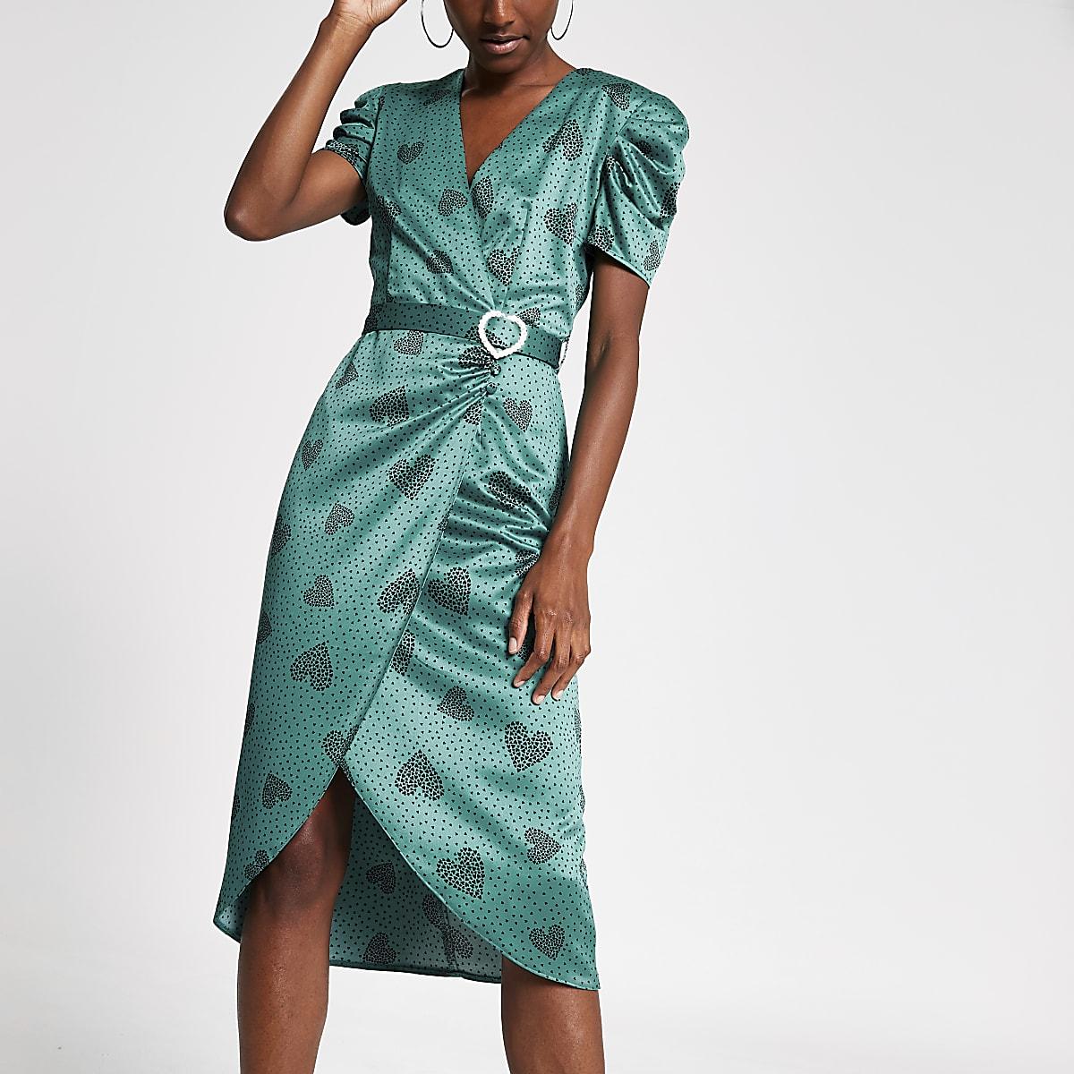 Green heart print wrap midi dress
