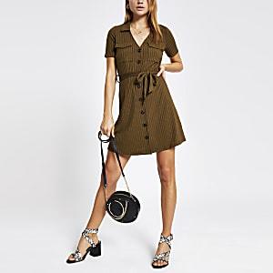 Khaki ribbed utility shirt dress