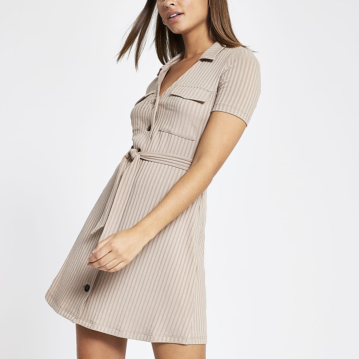 Beige ribbed utility shirt dress
