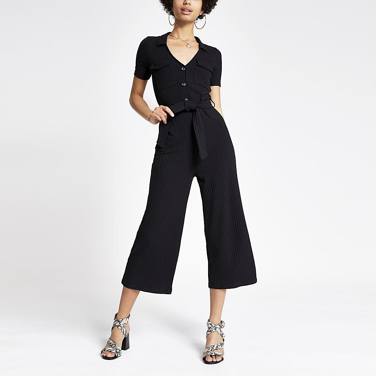 Black ribbed  tie waist utility jumpsuit