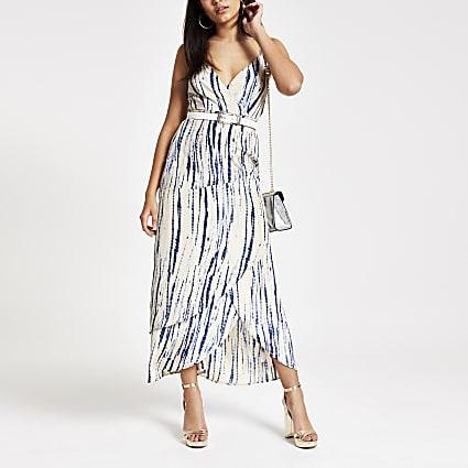 Beige tie dye print slip dress
