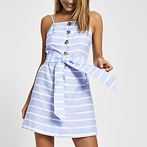 Blue stripe cami beach dress