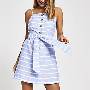 Robe de plage rayée bleue à bretelles fines