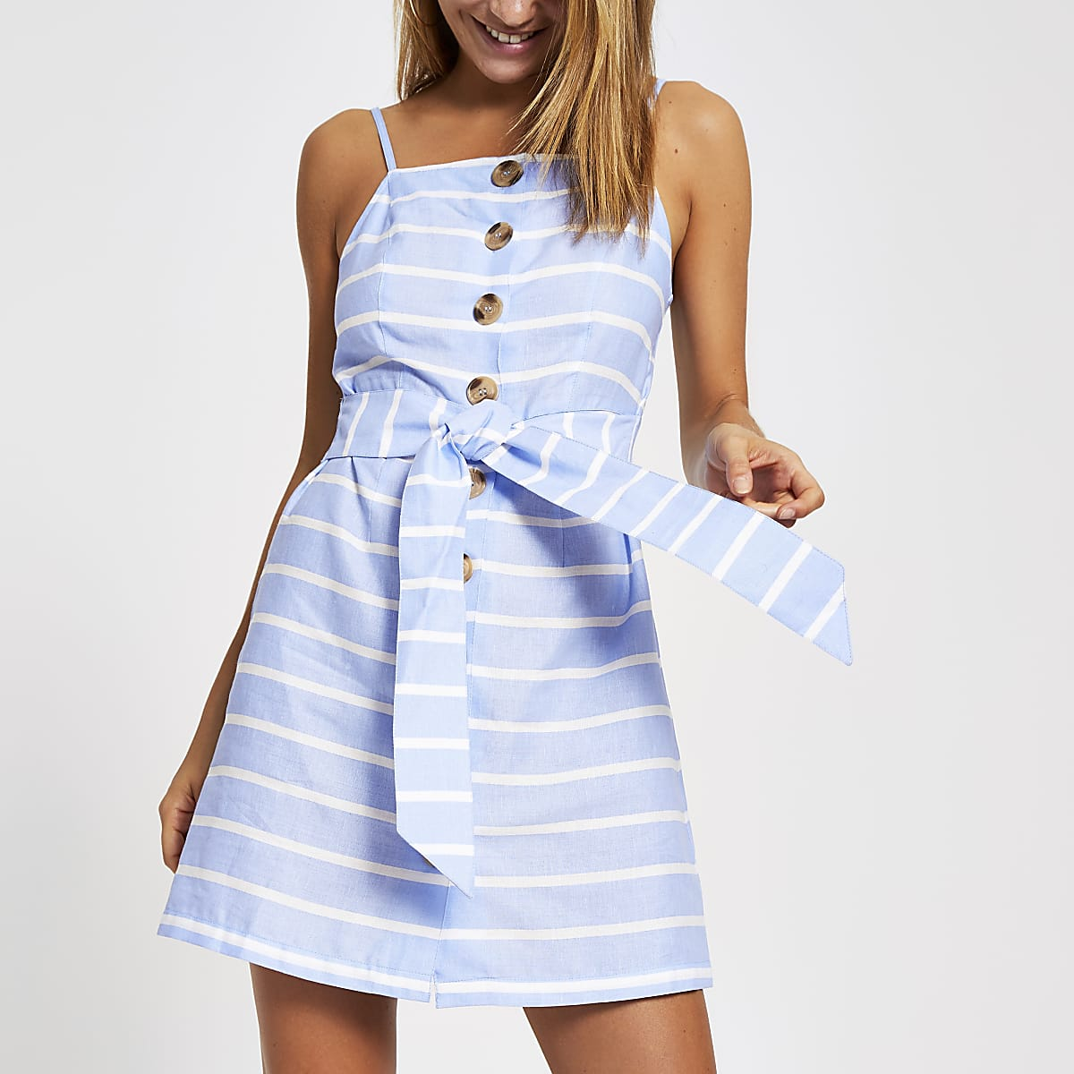 Blue stripe cami beach dress