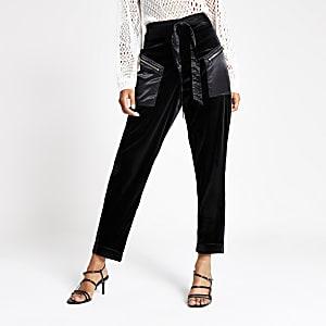Zwarte fluwelen broek met hoge taille