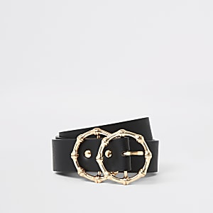 Zwarte riem met ringvormige bamboegesp