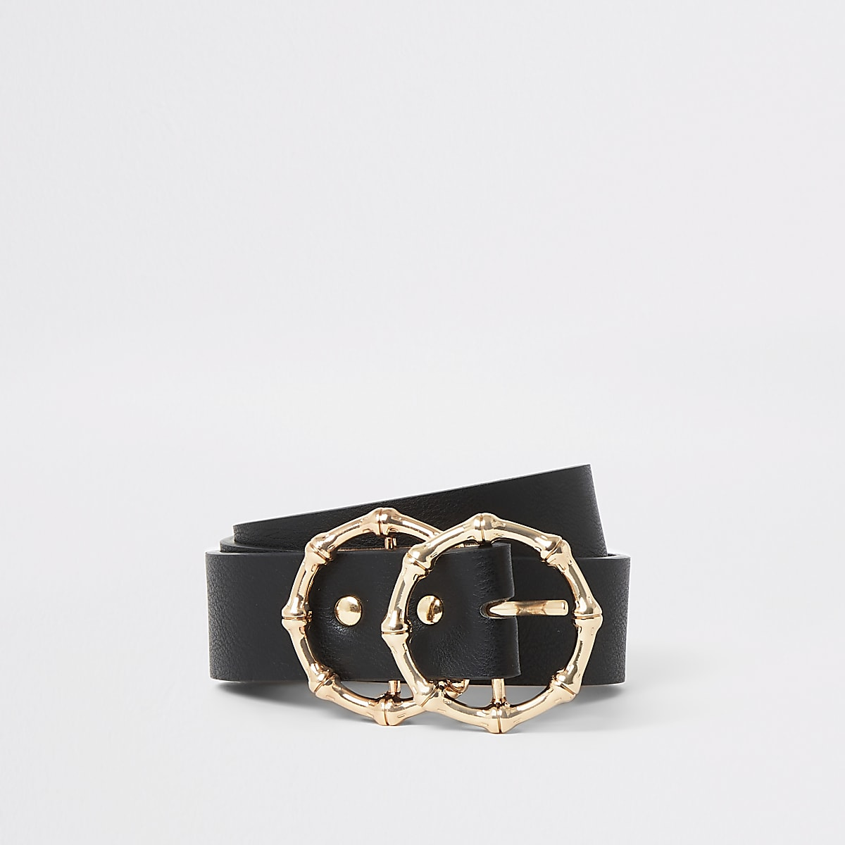 Black double bamboo ring buckle belt