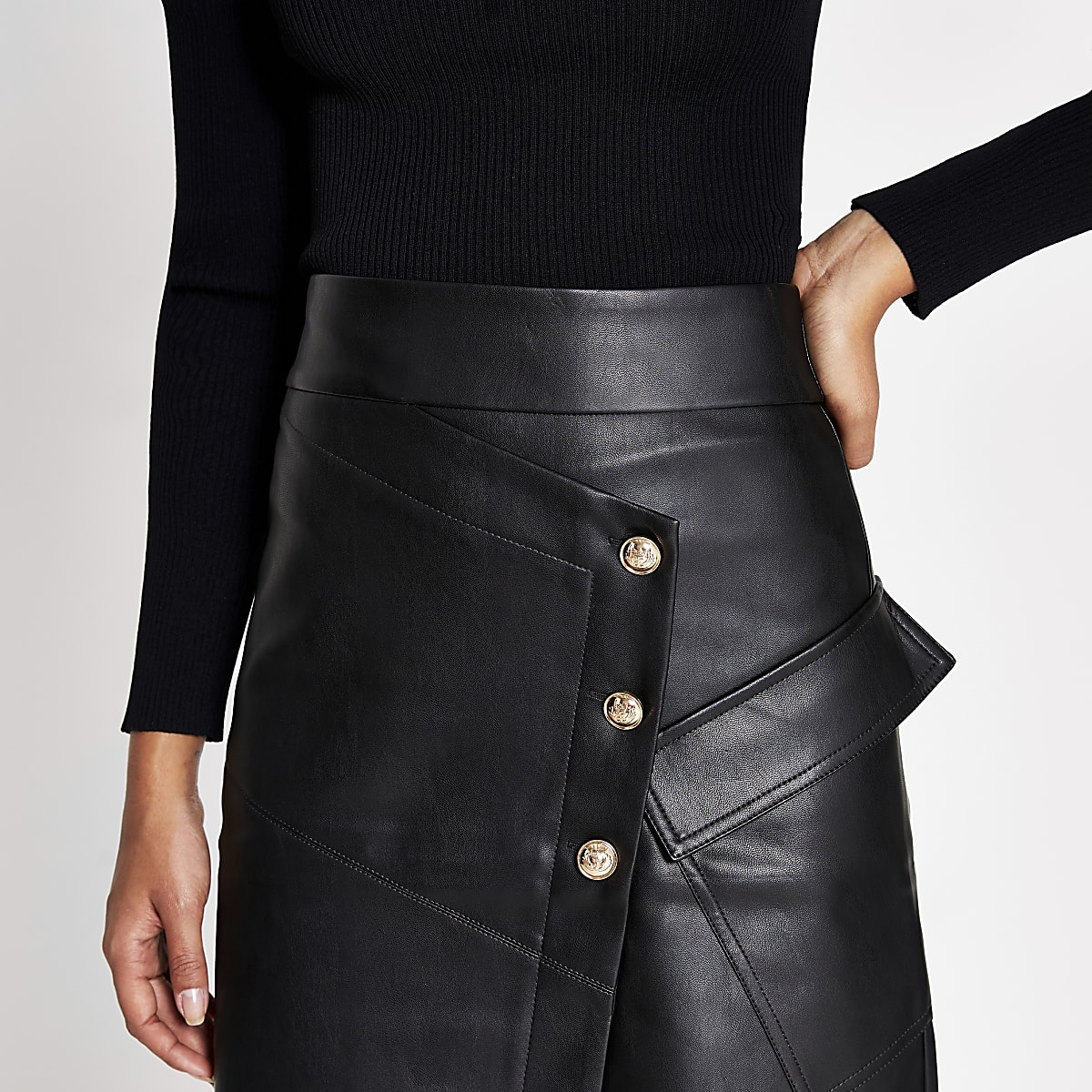 good quality reliable reputation how to find Black faux leather button A line midi skirt