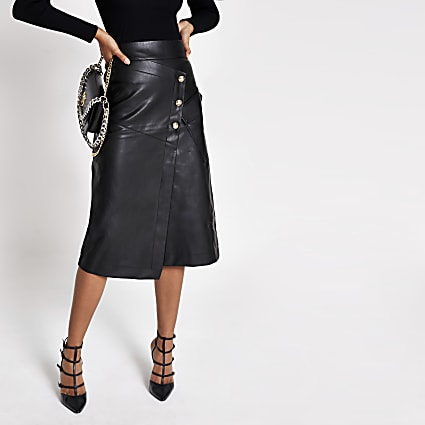 Black faux leather button A line midi skirt